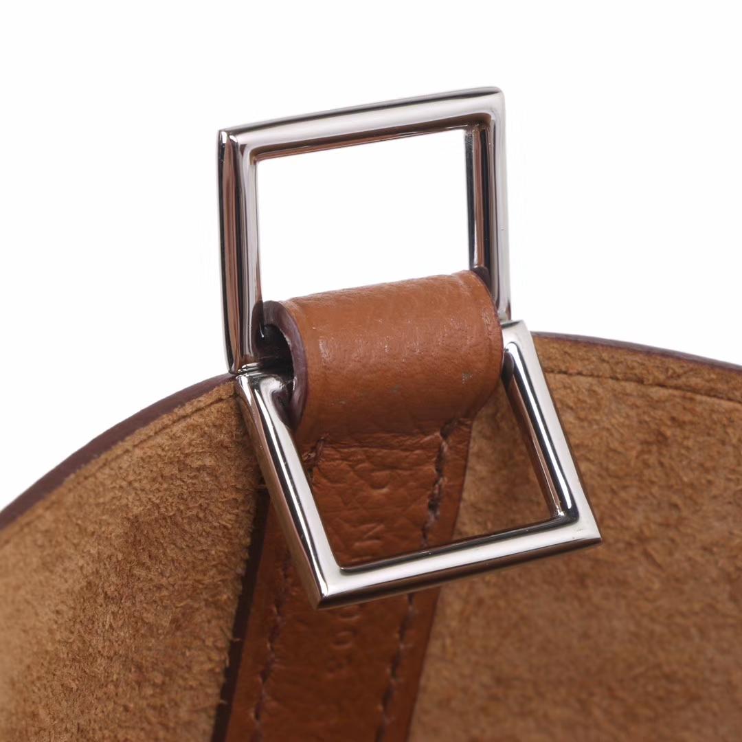 Hermès(爱马仕)Picotin菜篮 金棕色 编织手柄 原厂epsom皮 银扣 18cm