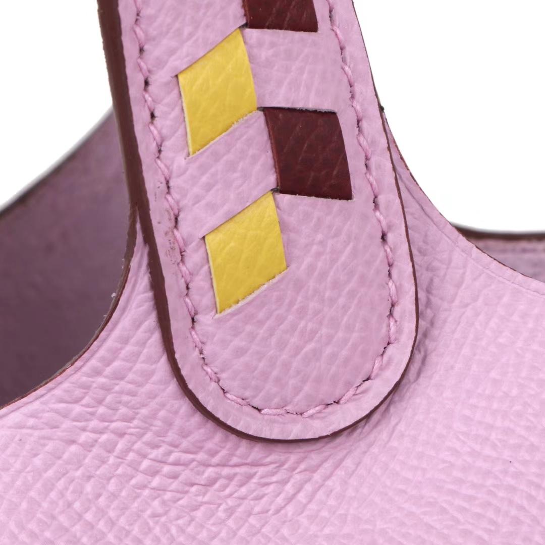 Hermès(爱马仕)Picotin菜篮 樱花粉 编织手柄 原厂epsom皮 银扣 18cm
