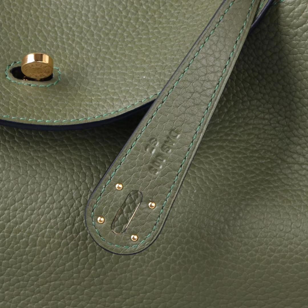 Hermès(爱马仕)lindy 30金 丛林绿 Togo