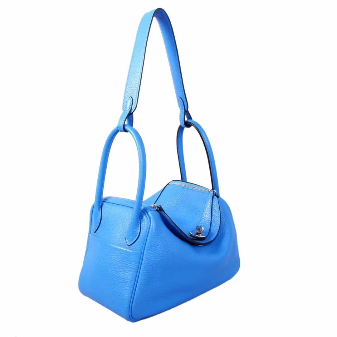 Hermès(爱马仕)lindy 30银 水妖蓝 Togo
