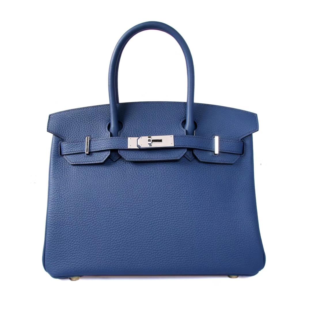 Hermès(爱马仕)birkin铂金包 深蓝色 togo 银扣 30cm