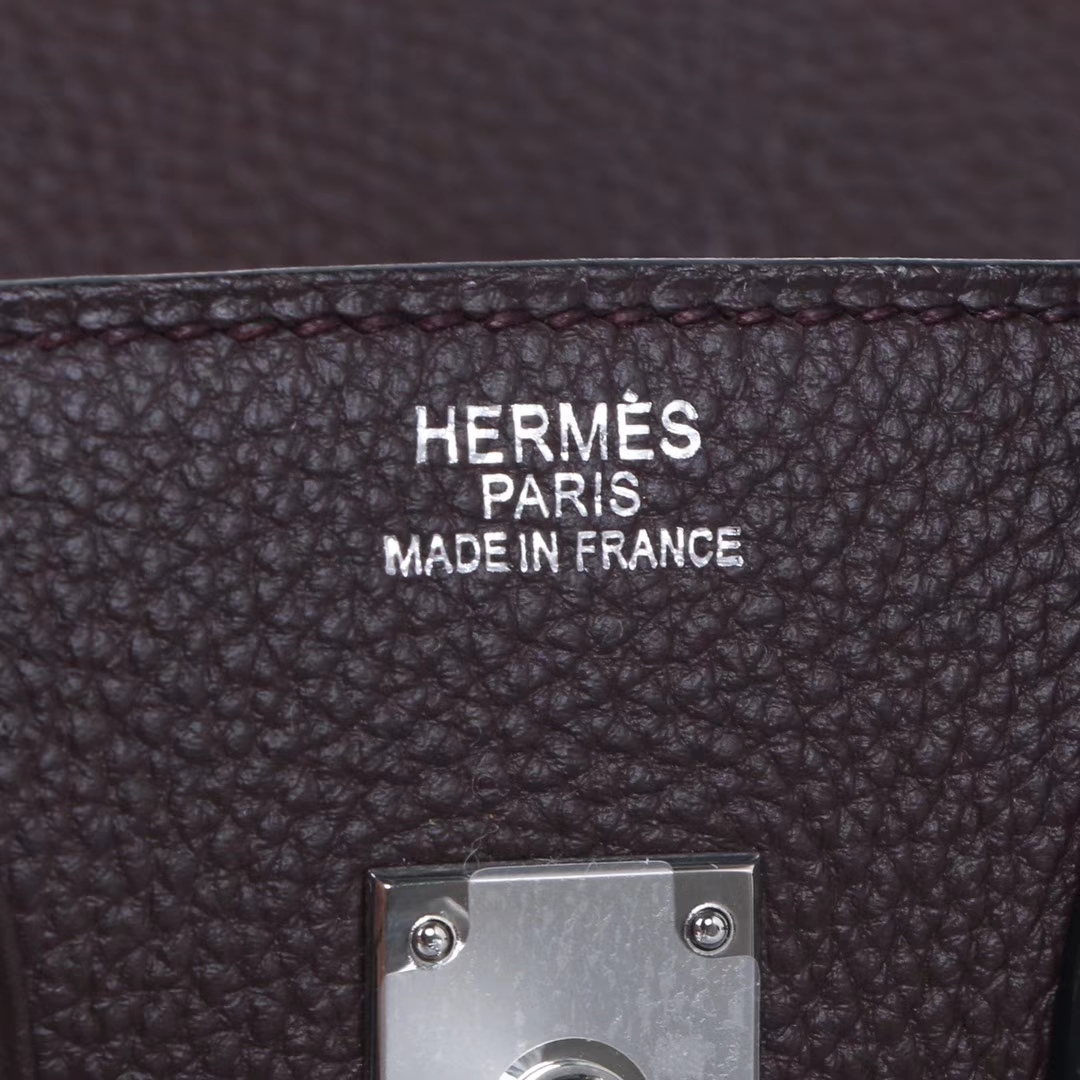 Hermès(爱马仕)birkin铂金包 巧克力色 togo 银扣 30cm
