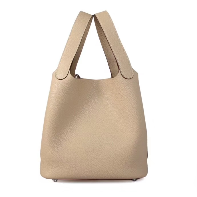 Hermès(爱马仕)Picotin菜篮包 斑鸠灰 TOGO 精选原版皮 银扣 18cm