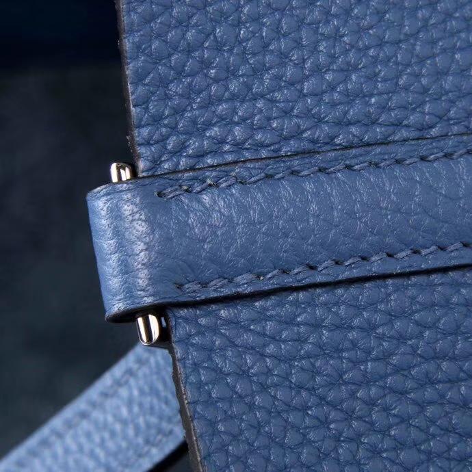 Hermès(爱马仕)Picotin菜篮包 玛瑙蓝 TOGO 精选原版皮 银扣 18cm