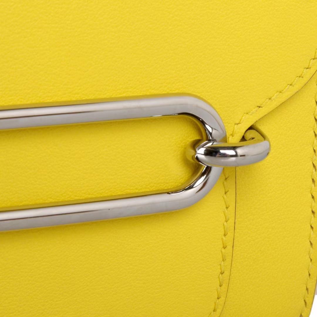 Hermès(爱马仕)Roulis猪鼻包C9鹅蛋黄EVERCOLOR 银扣 19cm