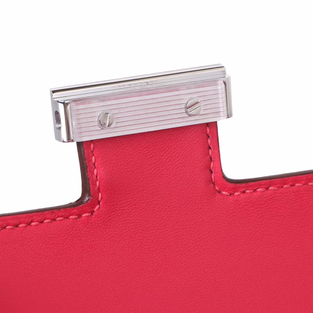 Hermès(爱马仕)Constace空姐包 极致粉 epsom皮 银扣 19cm