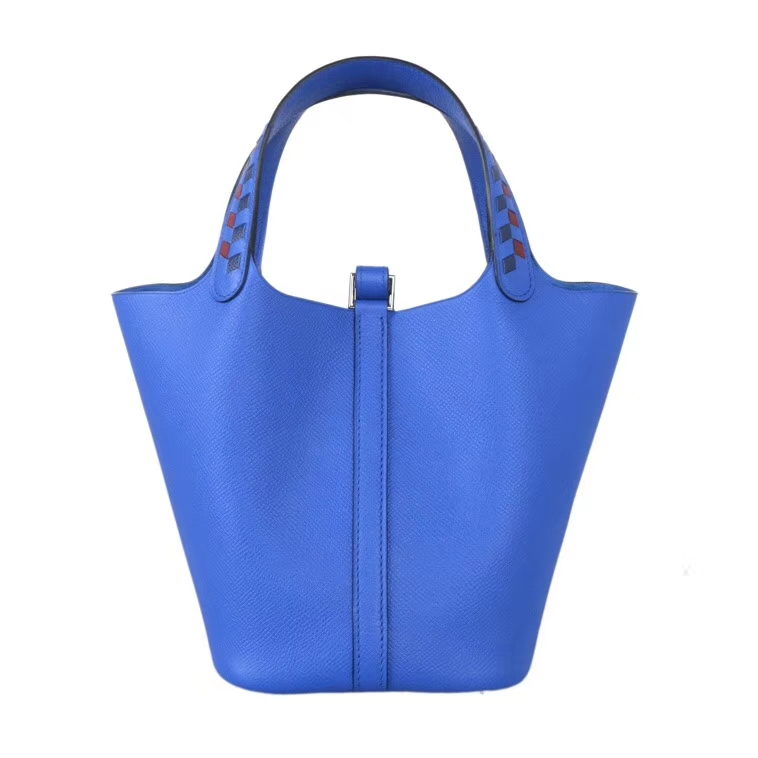 Hermès(爱马仕)Picotin菜篮包 编织系列 B3坦桑尼亚蓝 epsom皮 银扣 18cm