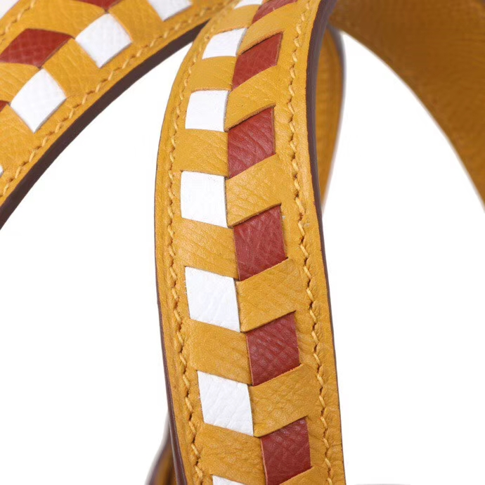 Hermès(爱马仕)Picotin菜篮包 编织系列 9D琥珀黄 epsom皮 银扣 18cm