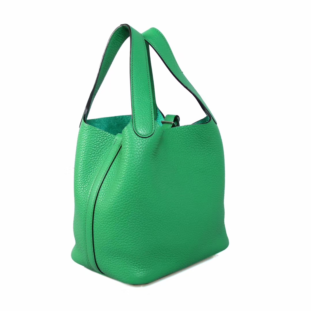 Hermès(爱马仕)2019最新编织系列 竹子绿 Picotin菜篮 银扣 18cm