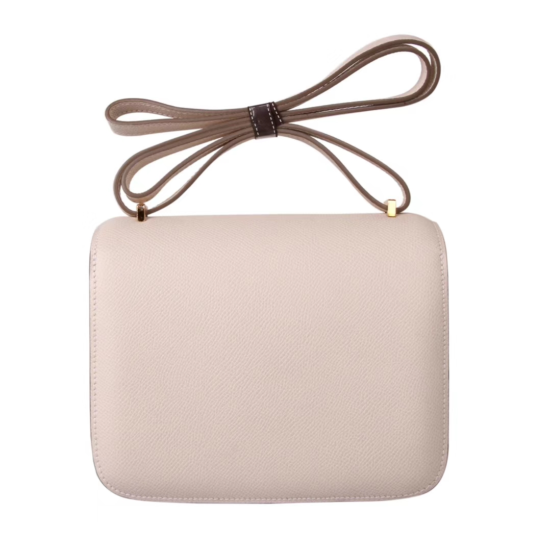 Hermès(爱马仕)Constace空姐包 3C奶昔白 epsom皮 金扣 19cm