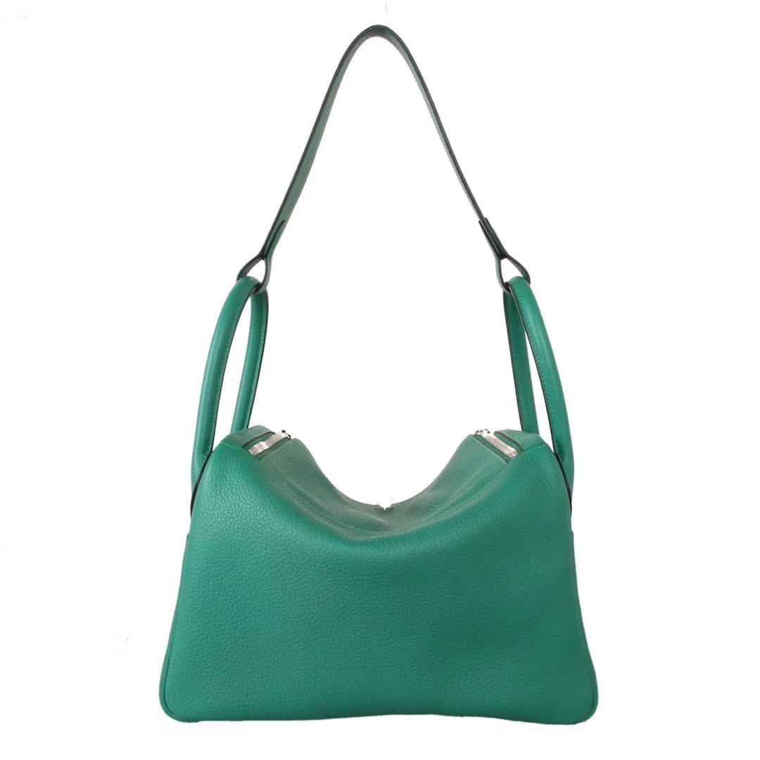 Hermès(爱马仕)lindy琳迪包 丝绒绿 Togo 银扣 30cm