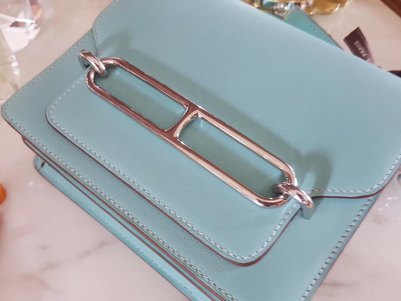 Hermès(爱马仕)roulis猪鼻 19 银扣 马卡龙蓝 原厂swift皮
