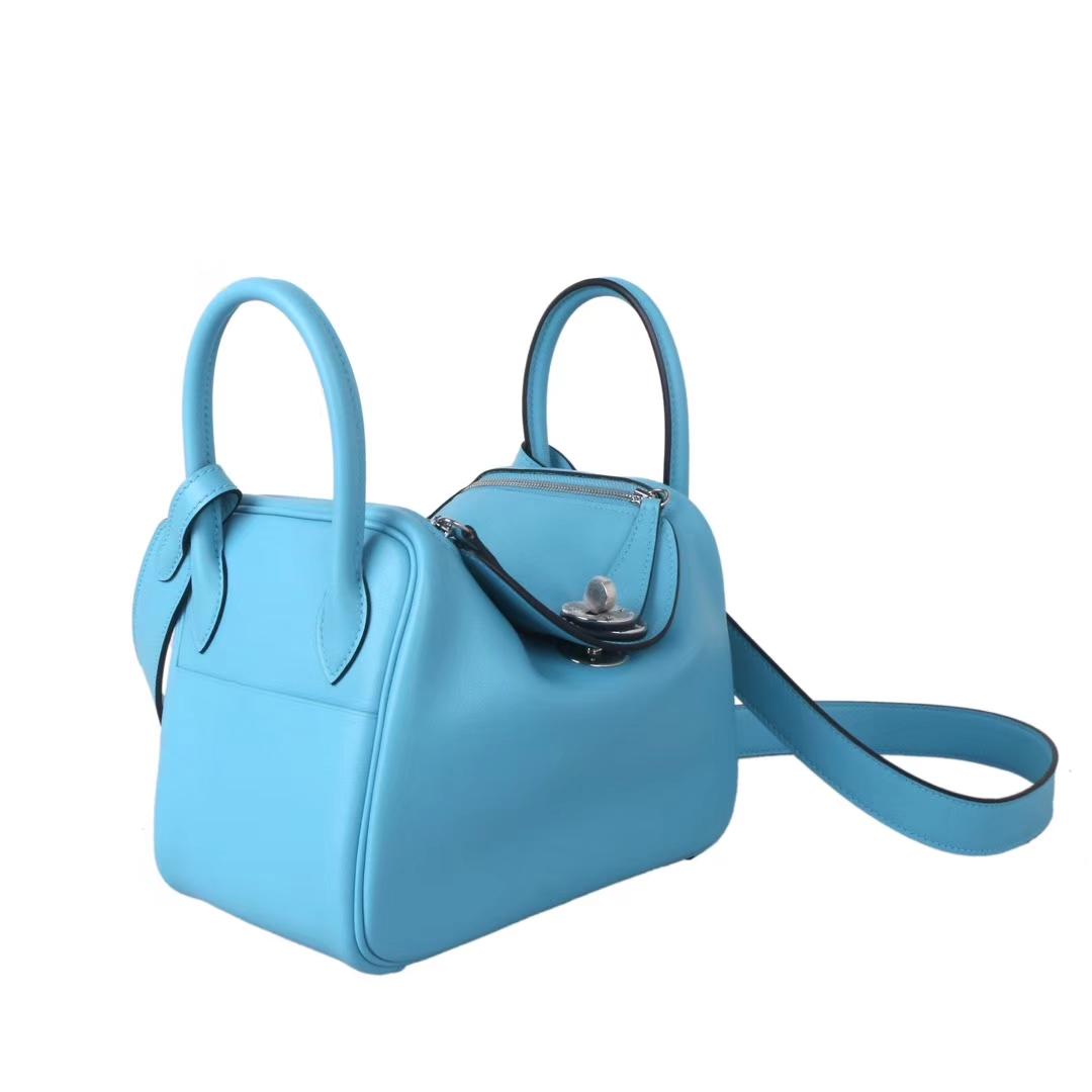 Hermès(爱马仕)mini lindy迷你琳迪包 北方蓝 原厂御用swift皮 银扣 20cm