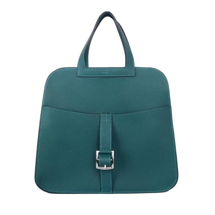 Hermès(爱马仕)Halzan手提包 森林绿 马鞍皮 TOGO 银扣 30cm
