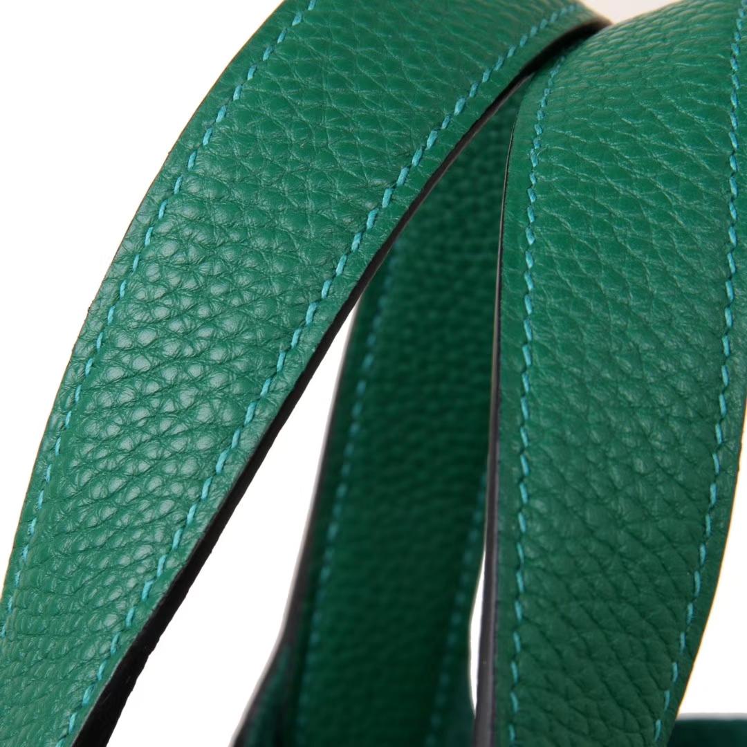 Hermès(爱马仕)Picotin菜篮包 丝绒绿 Togo 银扣 18cm