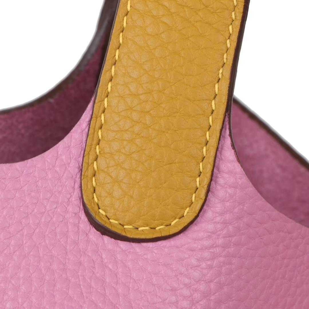 Hermès(爱马仕)Picotin菜篮包 樱桃粉拼琥珀黄 Togo 银扣 18cm