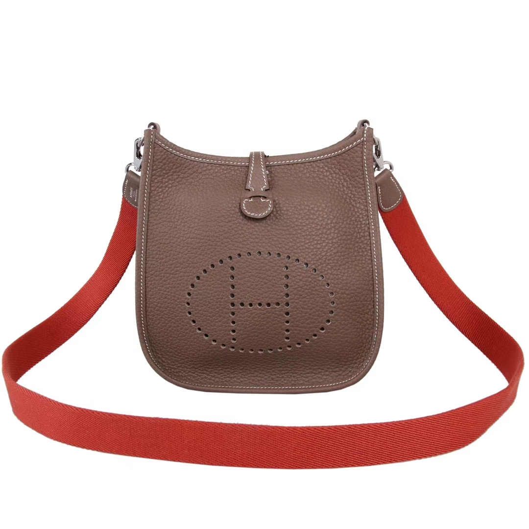 Hermès(爱马仕)mini evelyne 大象灰 中性款 银扣 togo 17cm