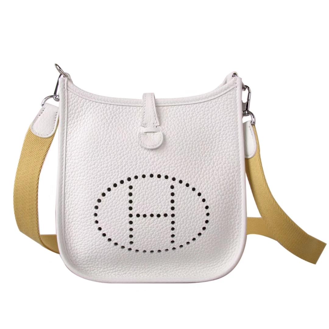 Hermès(爱马仕)mini evelyne 奶昔白 银扣 togo 17cm
