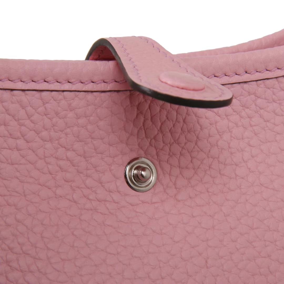 Hermès(爱马仕)mini evelyne 粉色 银扣 togo 17cm