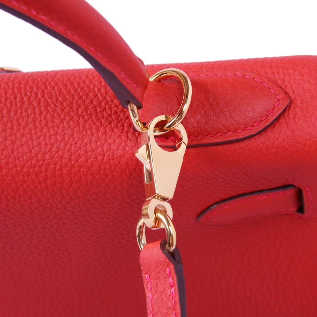 Hermès(爱马仕)Kelly凯莉包 朱砂红 Togo 金扣 28cm