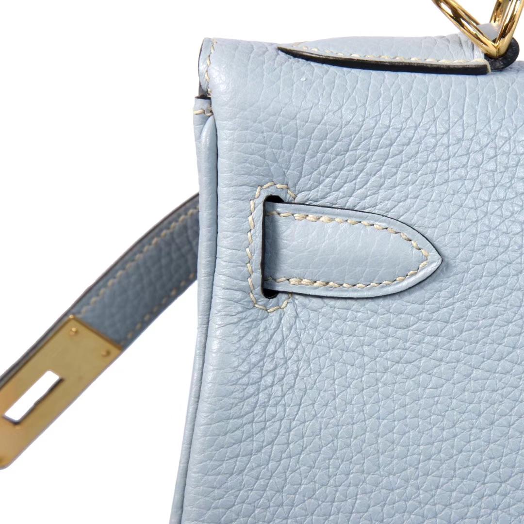 Hermès(爱马仕)Kelly凯莉包 亚麻蓝 Togo 金扣 28cm
