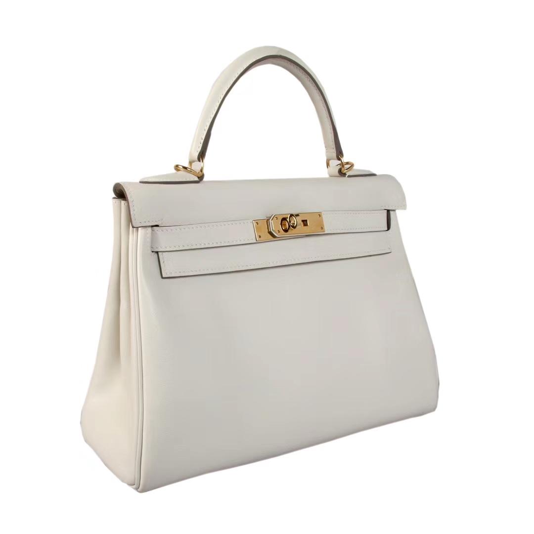 Hermès(爱马仕)Kelly凯莉包 奶昔白 原厂御用swift皮 金扣 28cm