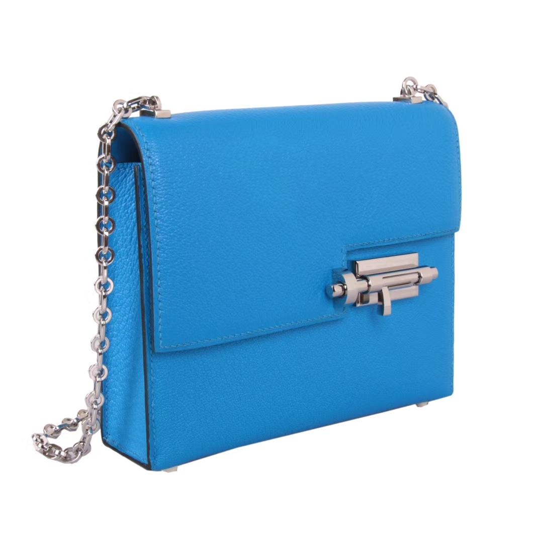 Hermès(爱马仕)Verrou锁链包插销包 水妖蓝 原厂羊皮 银扣 17cm