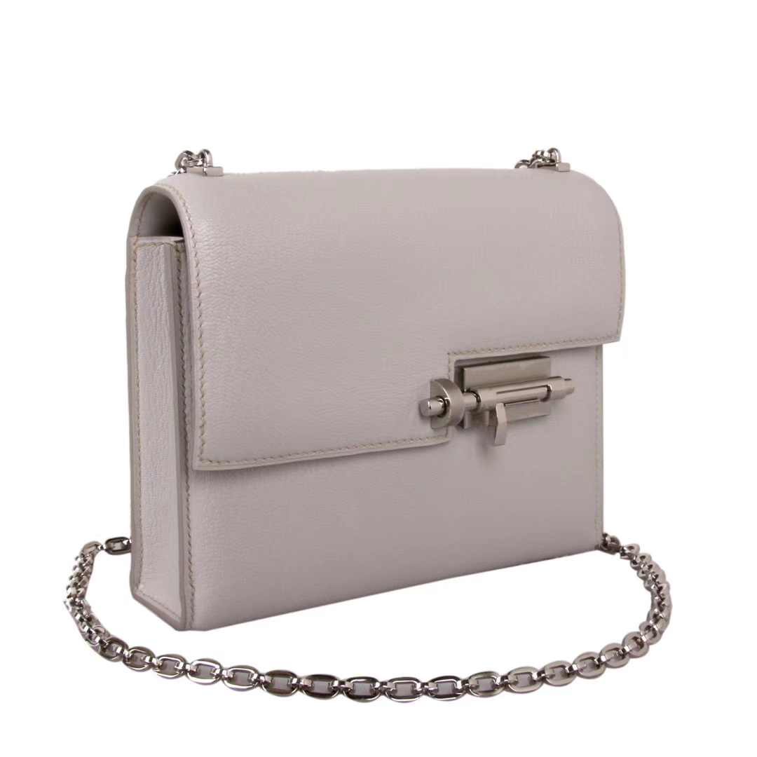 Hermès(爱马仕)Verrou锁链包插销包 珍珠灰 原厂羊皮 银扣 17cm