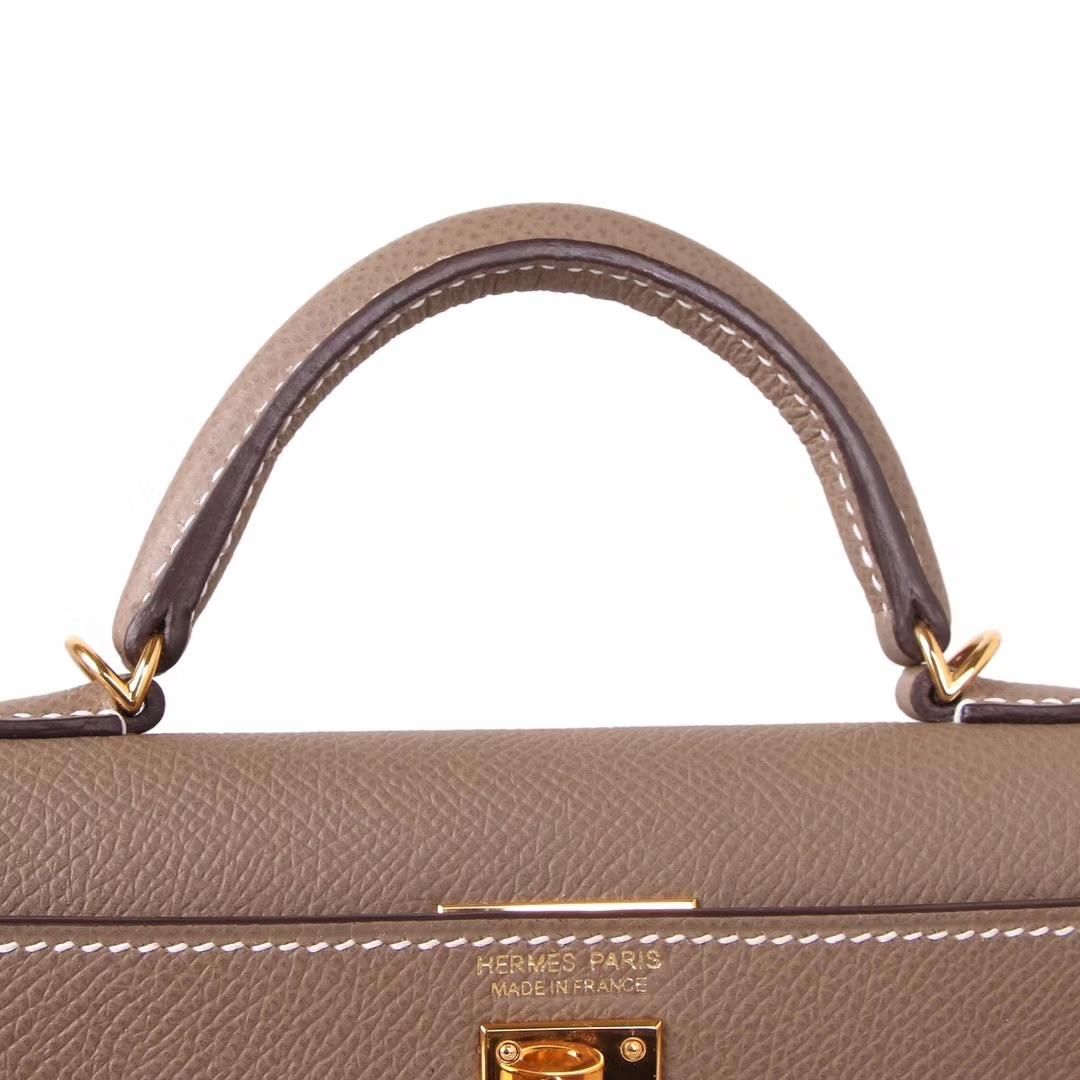 Hermès(爱马仕)Minikelly迷你凯莉 二代 大象灰 金扣 原厂御用epsom皮