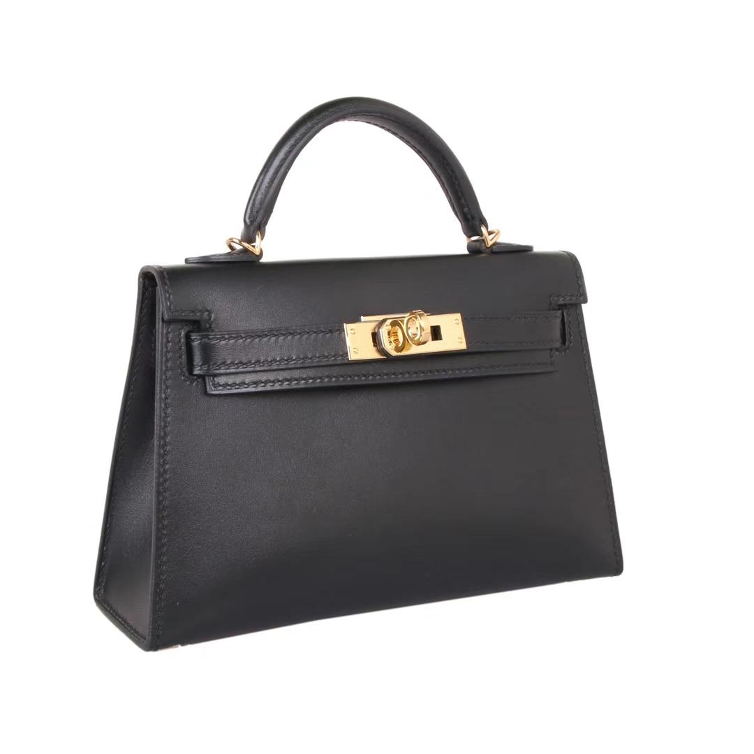Hermès(爱马仕)Minikelly迷你凯莉 二代 黑色 金扣 原厂御用Box皮