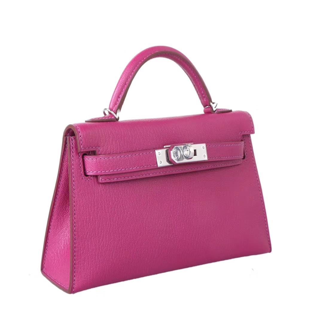 Hermès(爱马仕)Minikelly迷你凯莉 二代 托斯卡紫 银扣 原厂御用羊皮