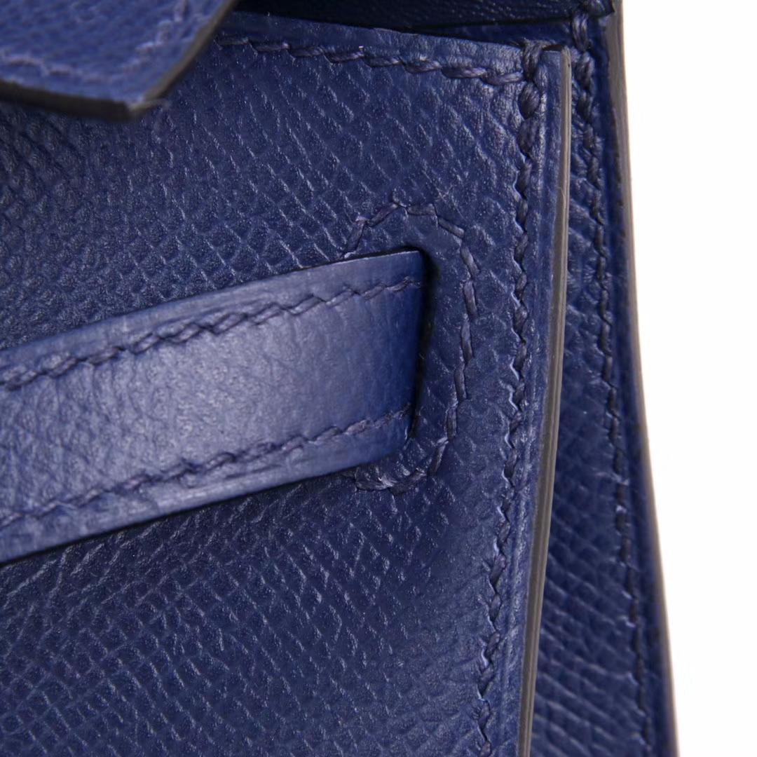 Hermès(爱马仕)Minikelly迷你凯莉 二代 宝石蓝 银扣 原厂御用Epsom皮