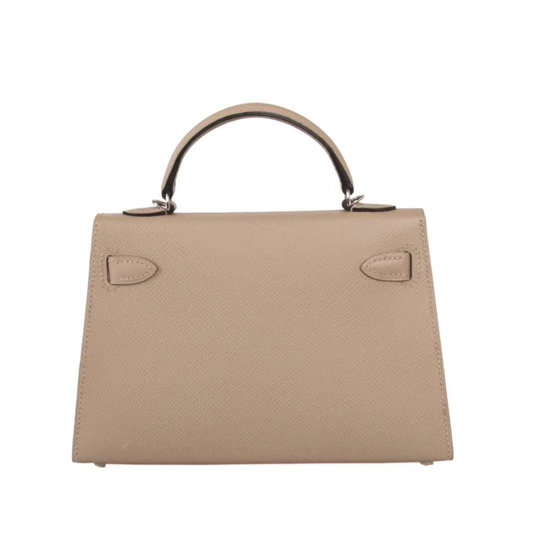 Hermès(爱马仕)minikelly二代  银扣 风衣灰 原厂御用Epsom皮 19cm
