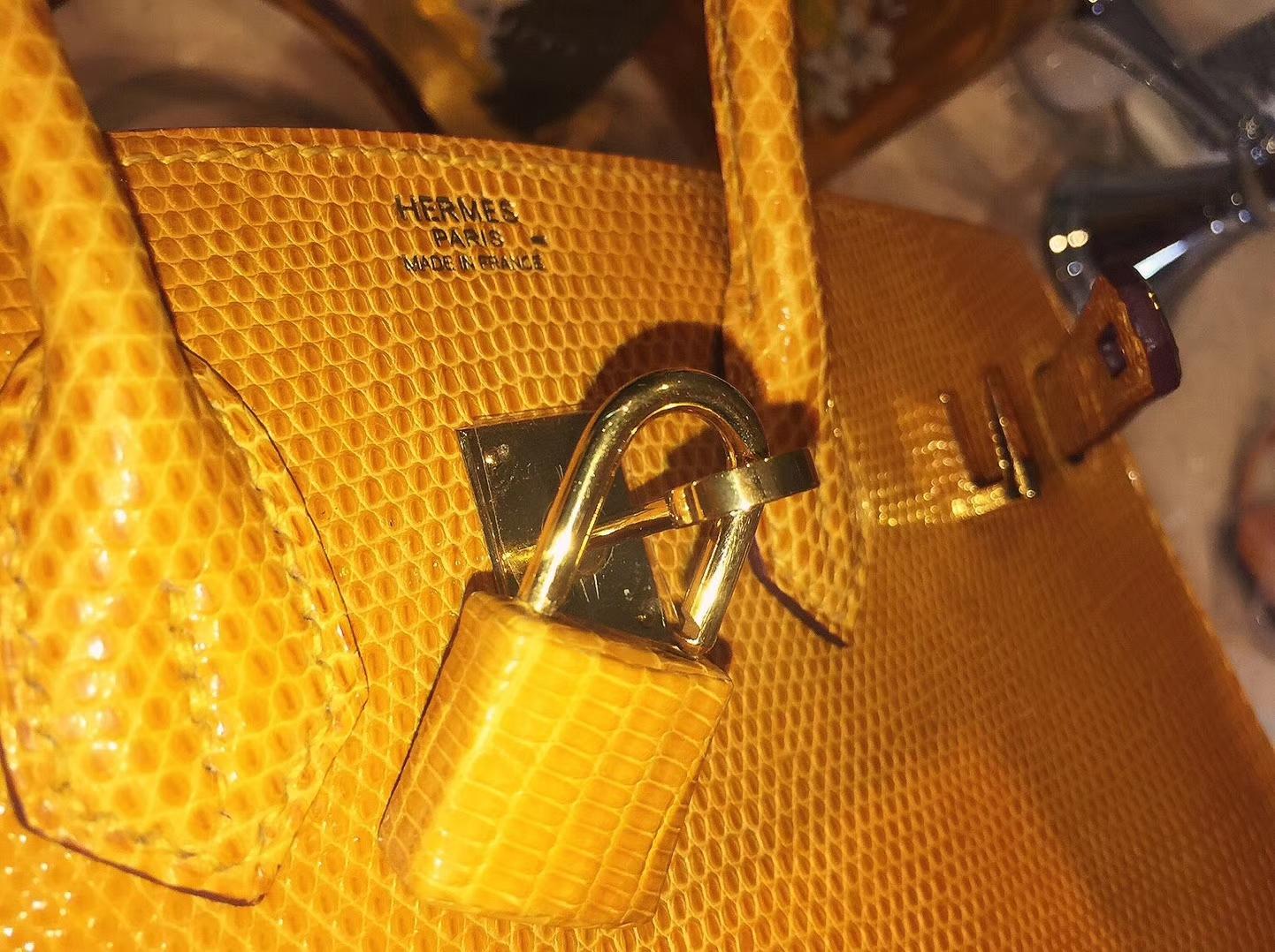 Hermès(爱马仕)Birkin 25 金扣 太阳黄 蜥蜴皮