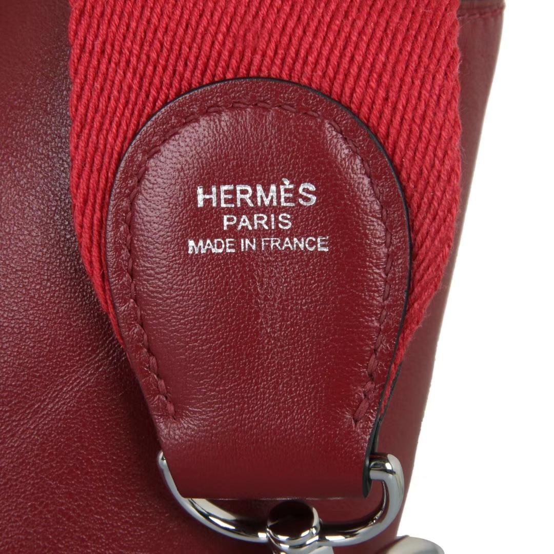 Hermès(爱马仕)Toolbox牛奶盒 石榴红 原厂御用swift皮 银扣 26cm
