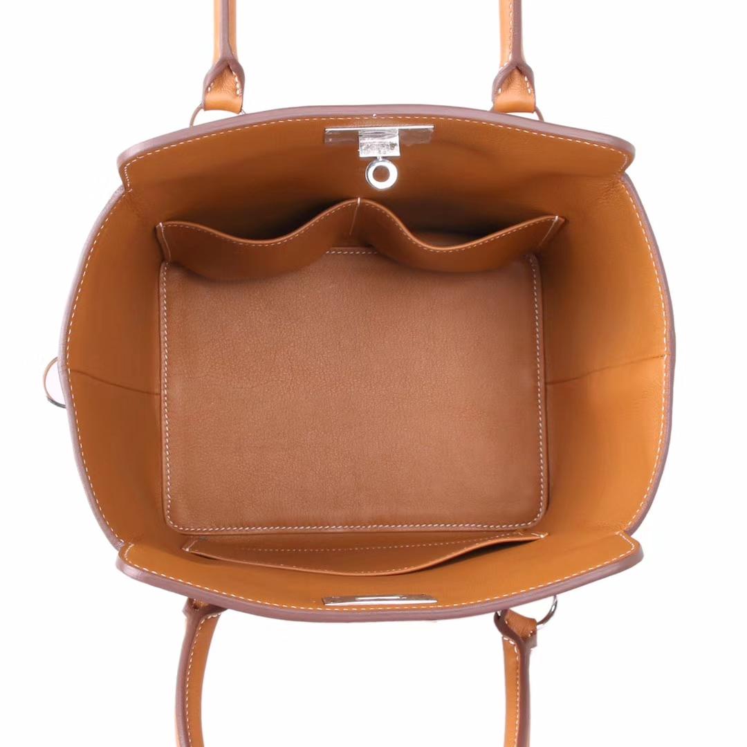 Hermès(爱马仕)Toolbox牛奶盒 金棕色 原厂御用swift皮 银扣 20cm