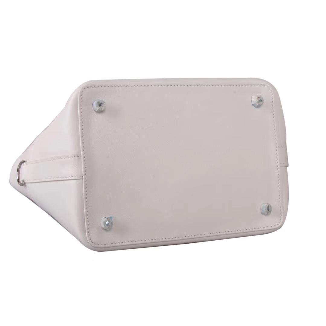 Hermès(爱马仕)Toolbox牛奶盒 纯白 原厂御用swift皮 银扣 20cm