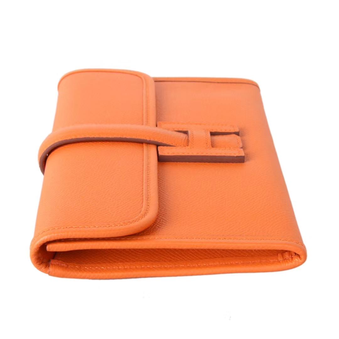 Hermès(爱马仕)Jige 手包 橙色 原厂御用epsom皮 22cm