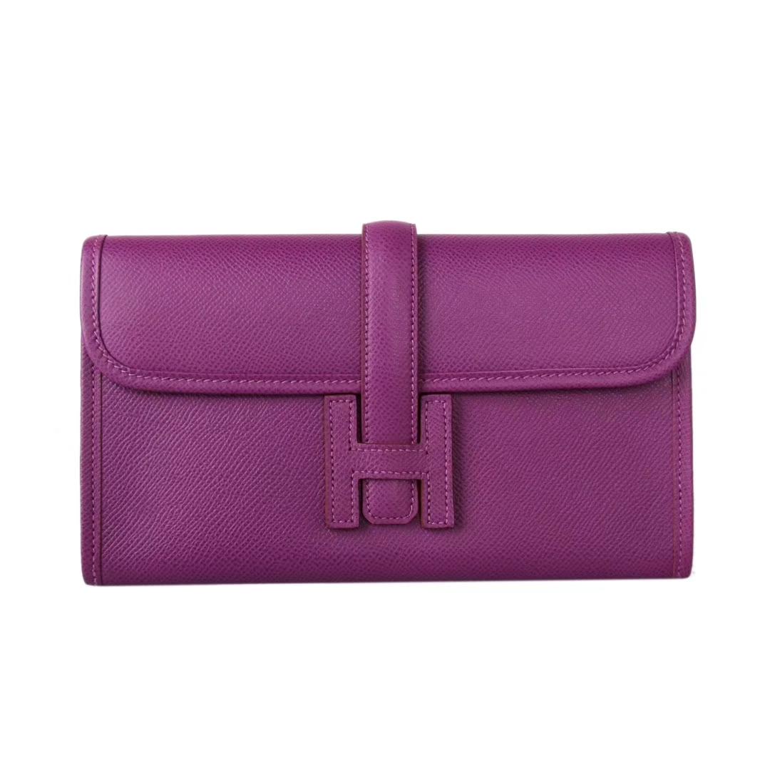 Hermès(爱马仕)Jige 手包 海葵紫 原厂御用epsom皮 22cm