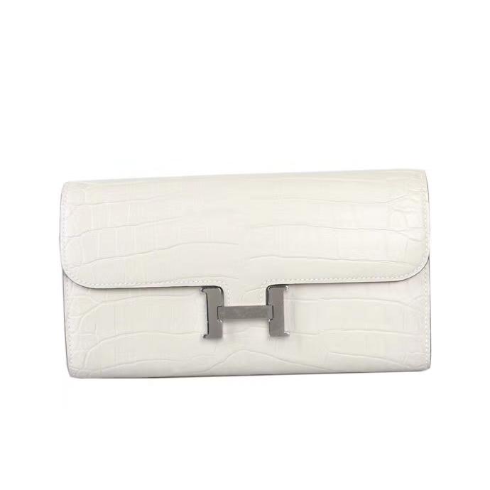 Hermès(爱马仕)大康钱夹 8L奶油白 哑光鳄鱼 VIP客户高端定制