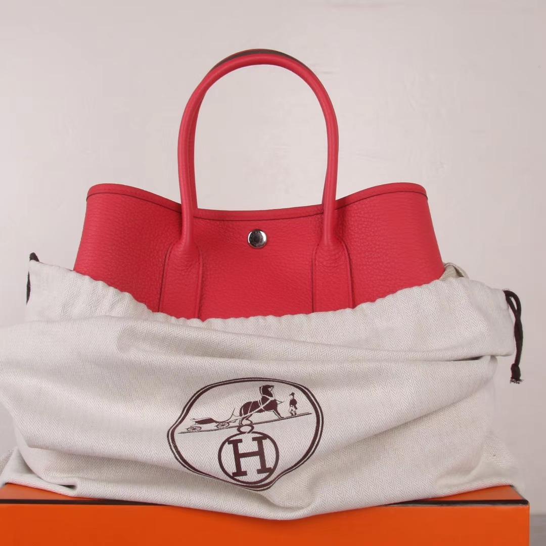 Hermès(爱马仕)garden party花园包 西瓜红 togo 银扣 30CM
