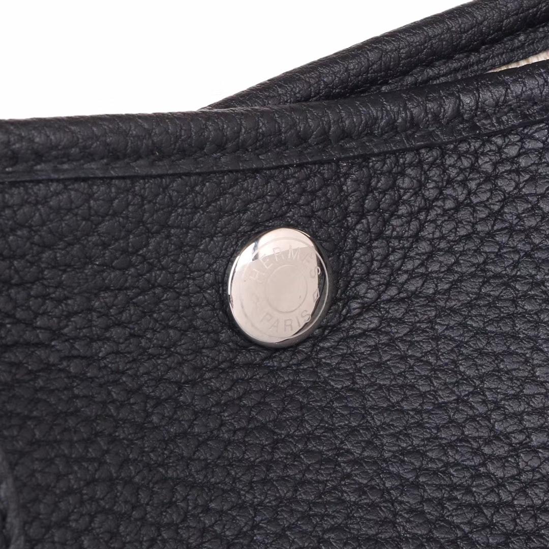 Hermès(爱马仕)garden party花园包 黑色 togo 银扣 30CM