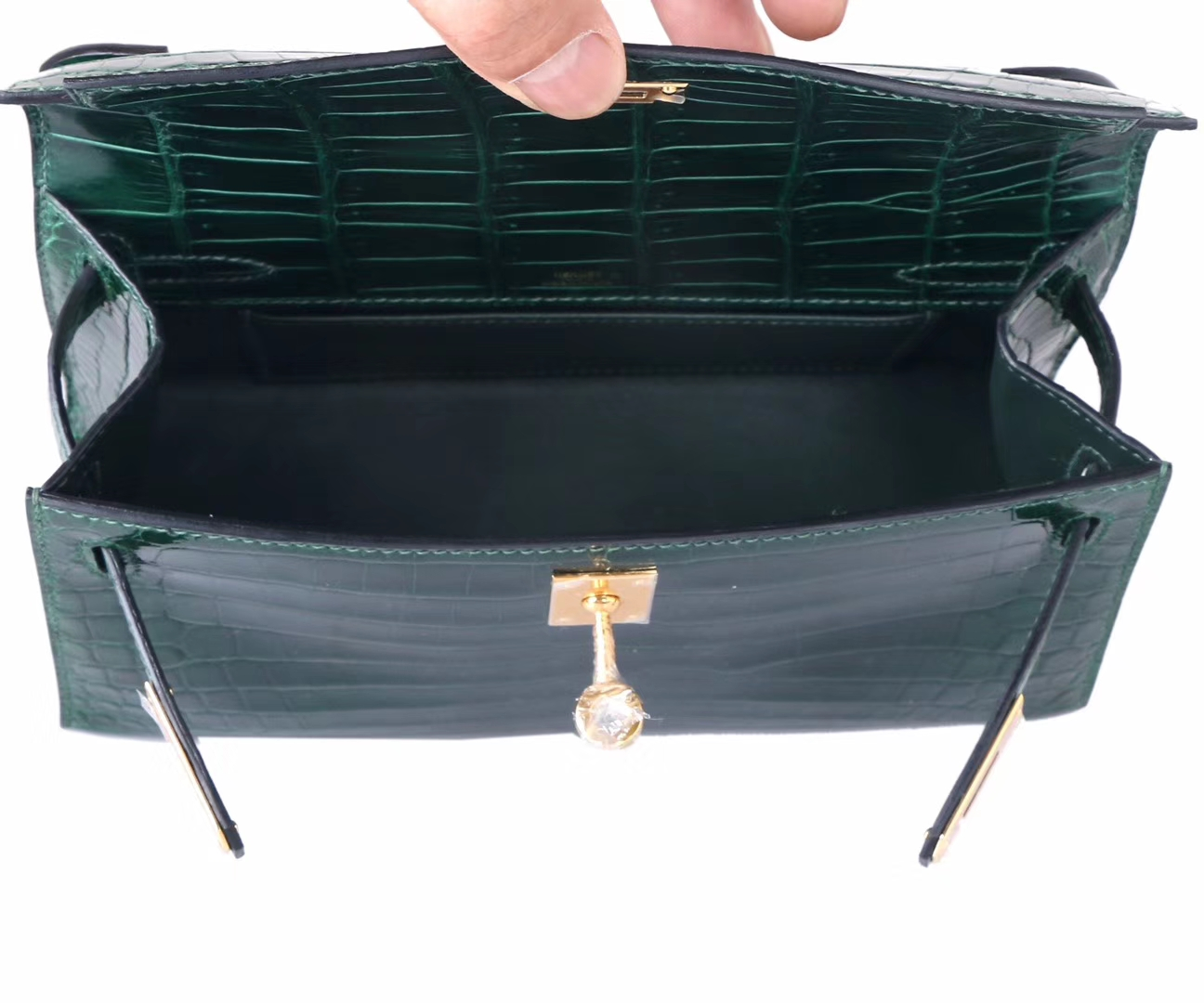 Hermès(爱马仕)miniKelly迷你凯莉 祖母绿 鳄鱼皮 一代 银扣 22cm