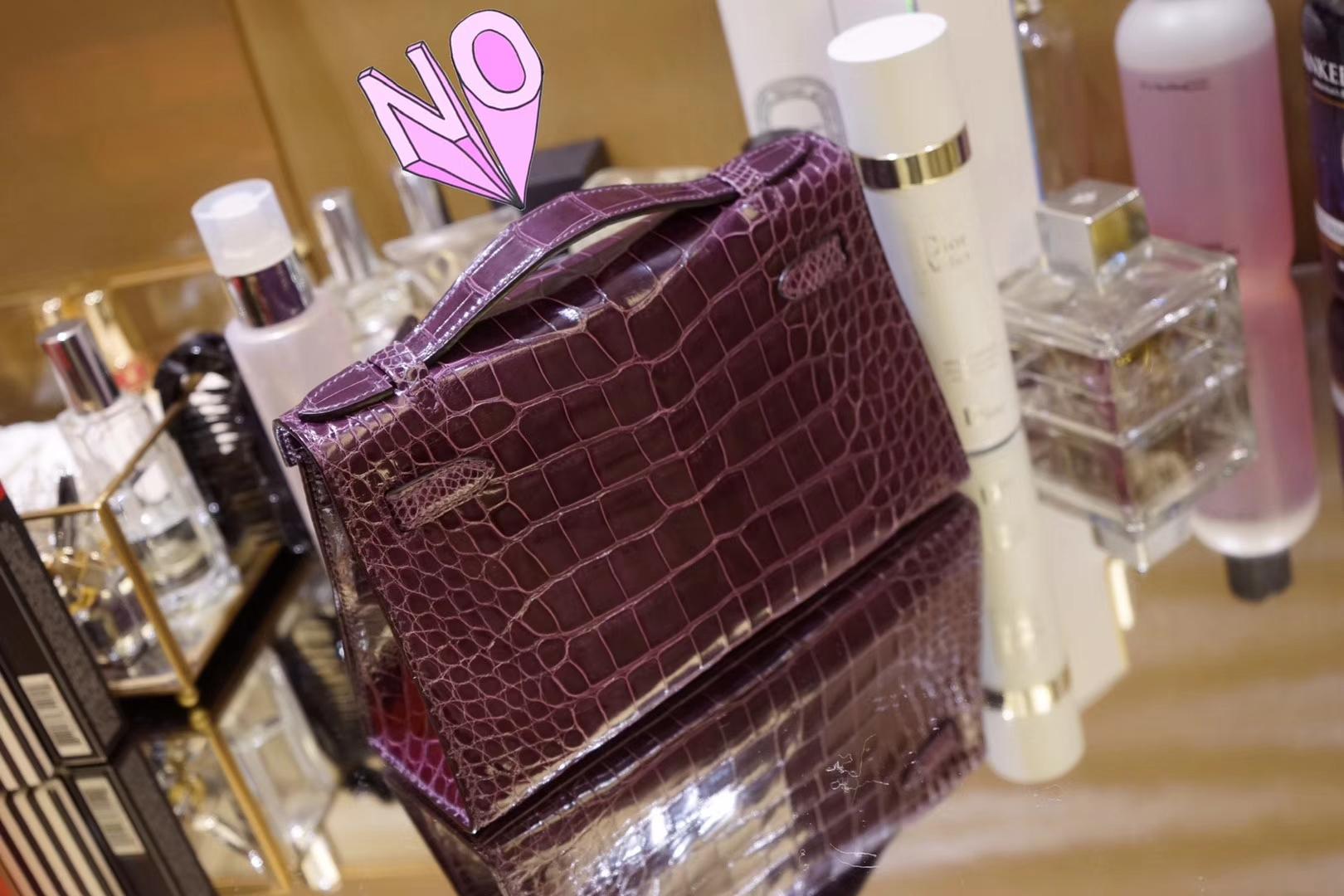 Hermès(爱马仕)miniKelly迷你凯莉 加仑紫 鳄鱼皮 一代 银扣 22cm