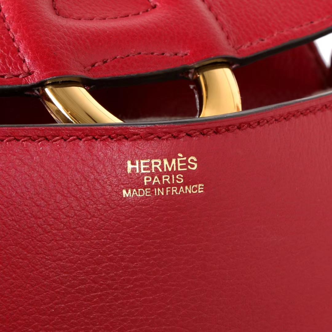 Hermès(爱马仕)Cherche-MIDI挎包 石榴红 原版evercolor皮 银扣 18CM