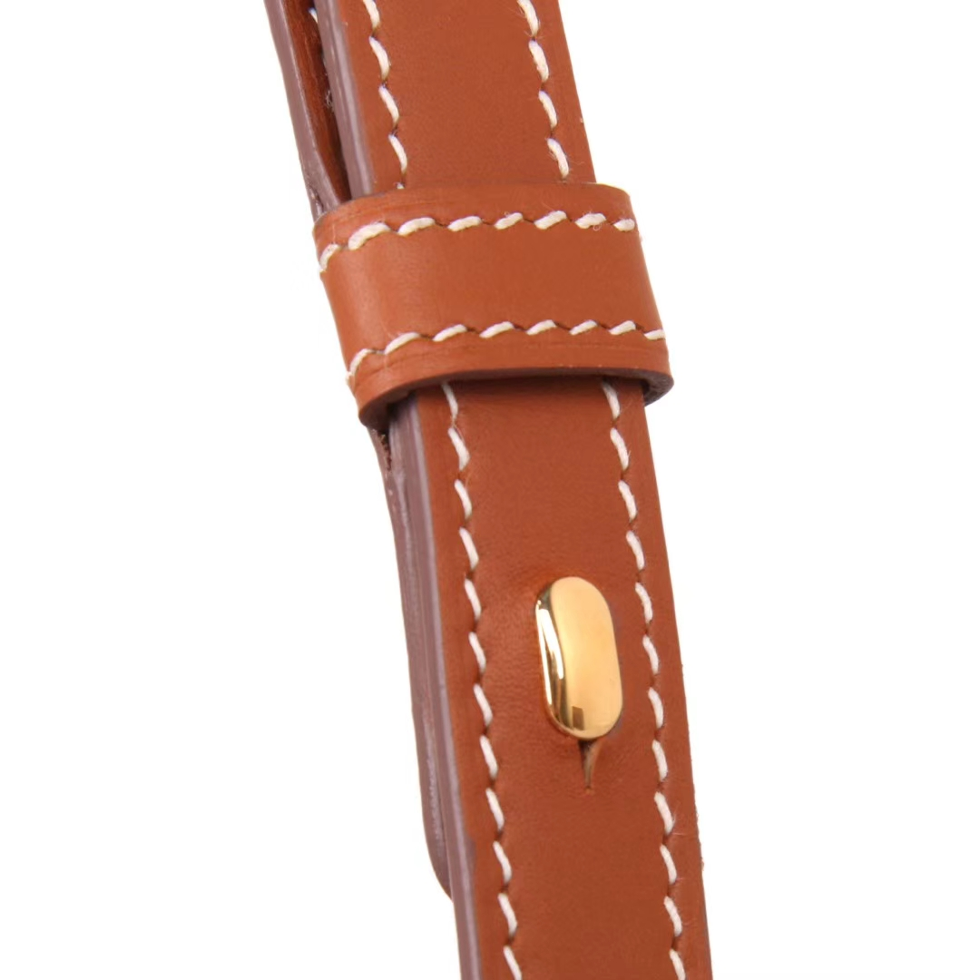 Hermès(爱马仕)Cherche-MIDI挎包 金棕色 原版Swift皮 银扣 18CM