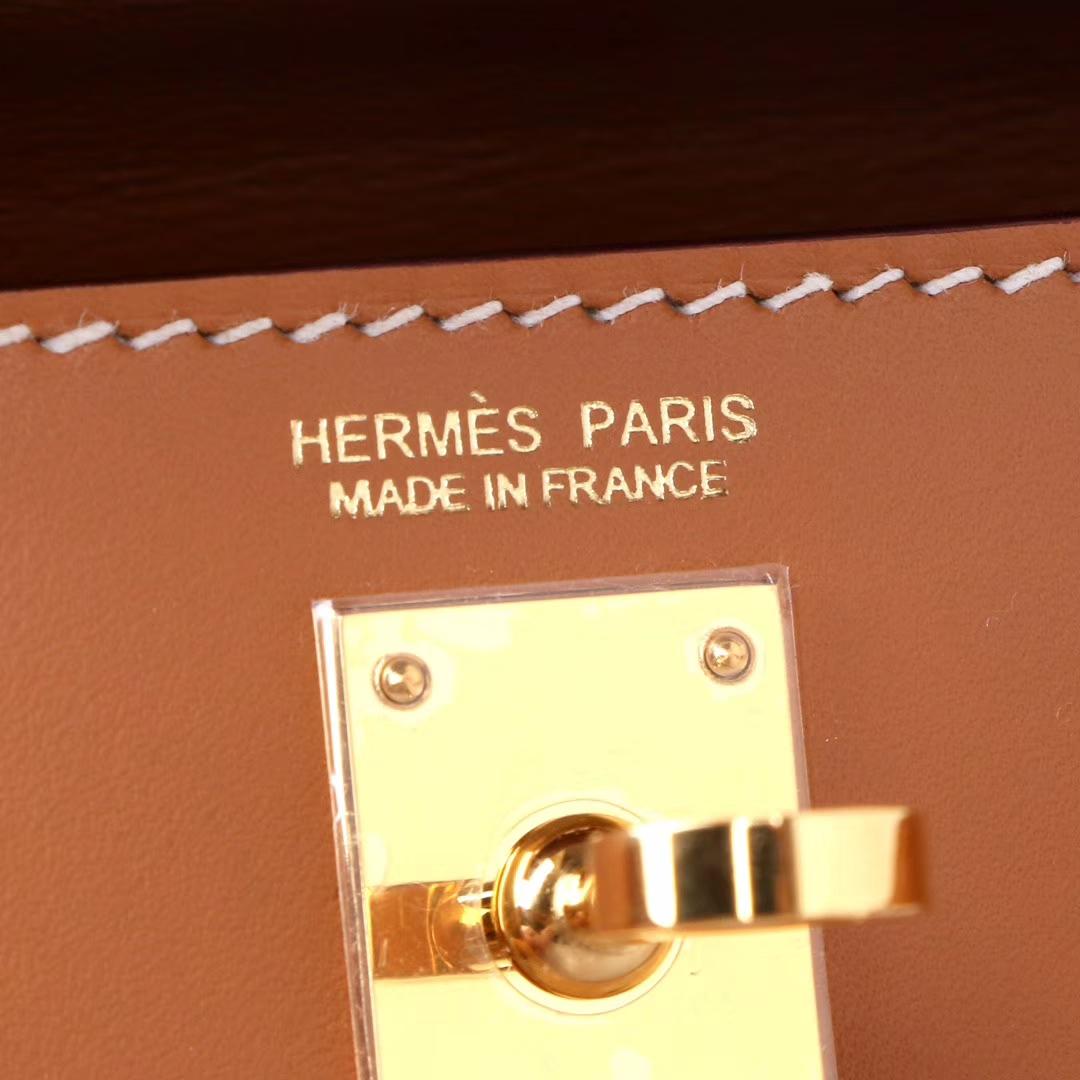 Hermès(爱马仕)mini Kelly二代 金棕色 金扣 Box皮