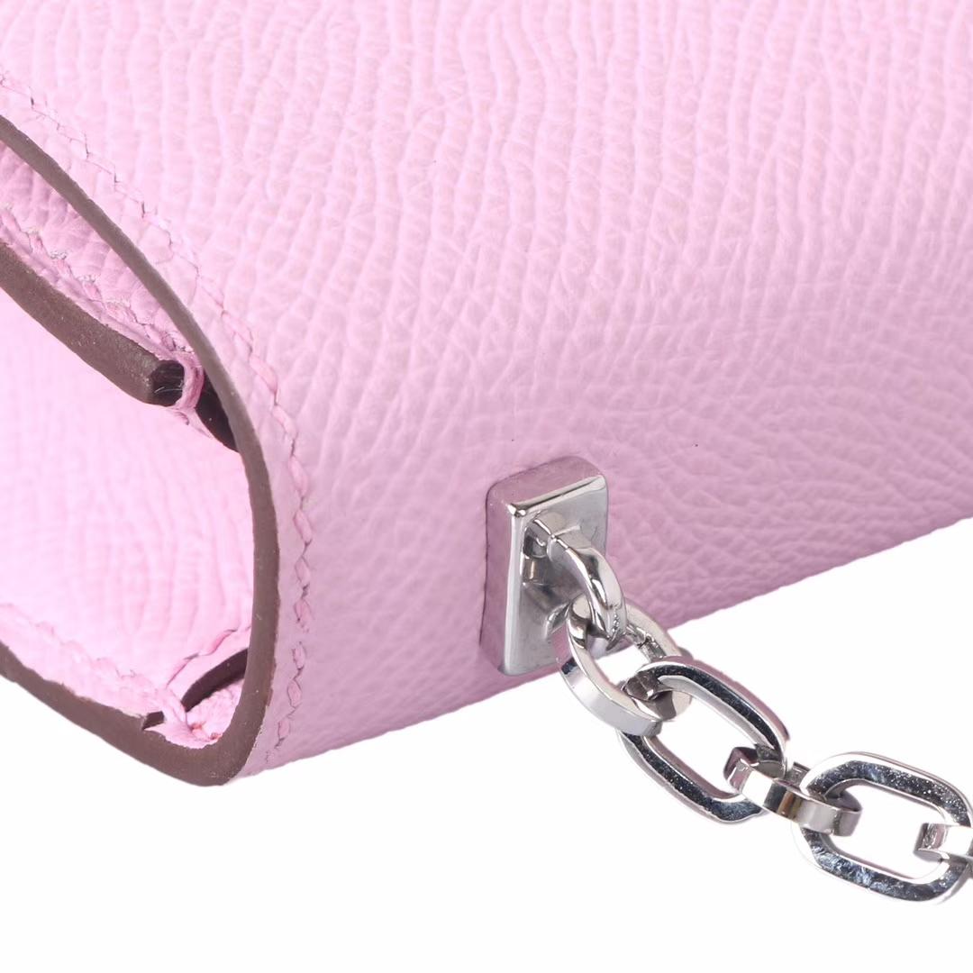 Hermès(爱马仕)Verrou锁链插销包 锦葵紫 Epsom皮 银扣 19cm