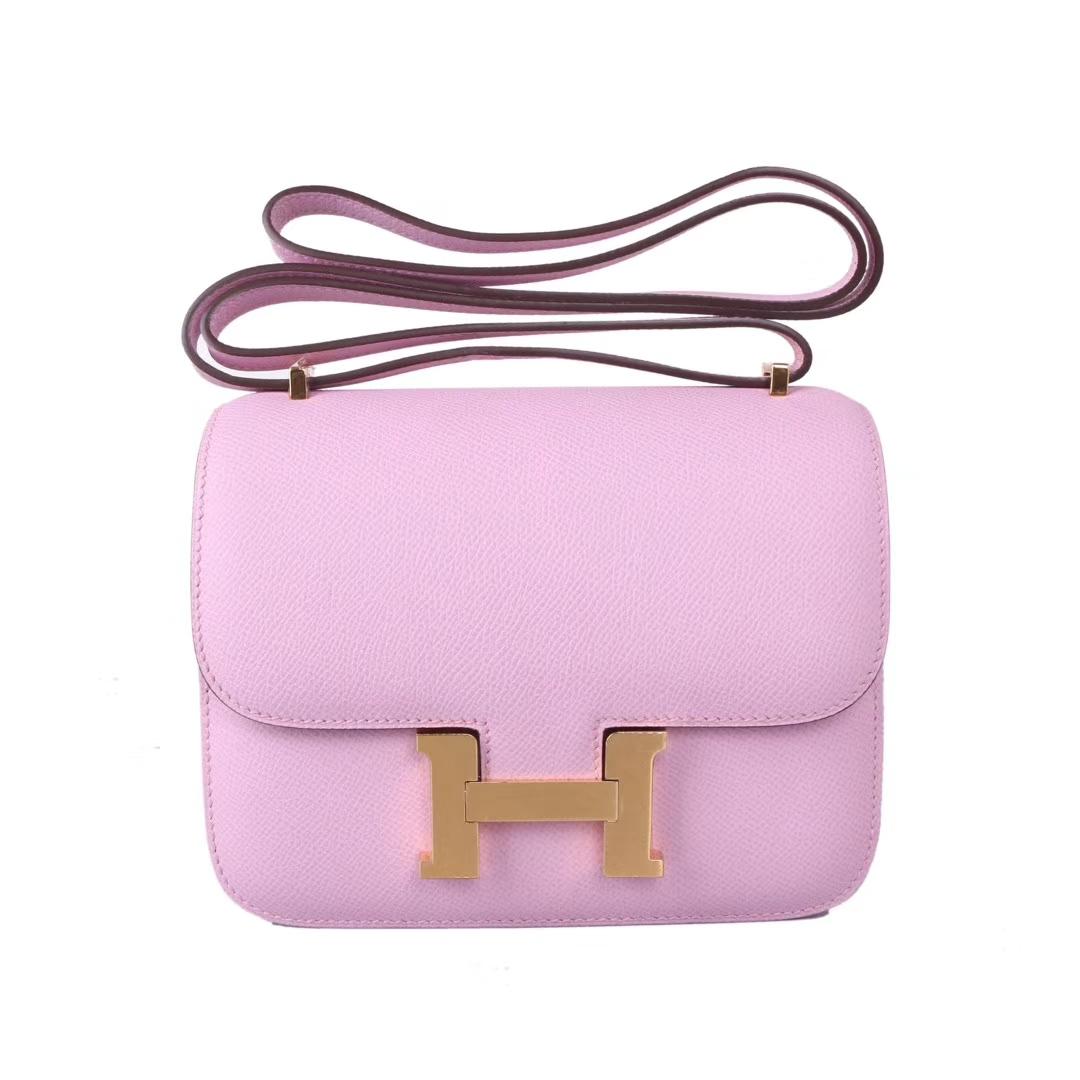 Hermès(爱马仕)Constace空姐包 锦葵紫 原厂御用epsom皮 金扣 19cm