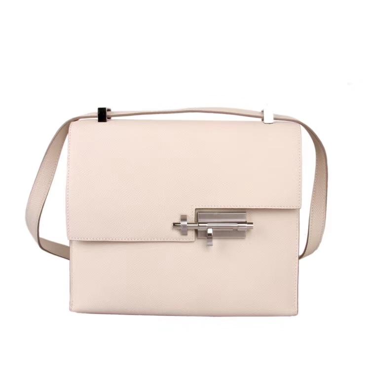 Hermès(爱马仕)Verrou锁链包插销包 3C奶昔白 epsom皮 银扣 21cm